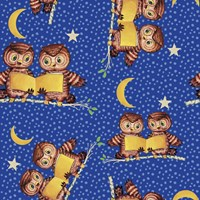 Cute Baby Owls Starry Night Pattern Fine Art Print