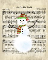 Snowman Conducts Joy To The World Framed Print