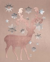 Park Avenue Rosegold Deer in the Silver Snow Fine Art Print