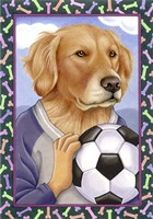 Golden Retriever Soccer Ball Fine Art Print