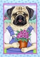 Pug Flower Pot Fine Art Print