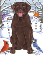 Winter Chocolate Lab Fine Art Print