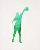 Basketball Girl Watercolor Silhouette Part I Framed Print
