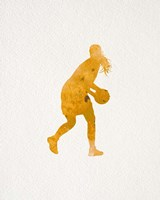 Basketball Girl Watercolor Silhouette Part III Framed Print