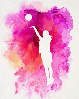 Basketball Girl Watercolor Silhouette Inverted Part IV Fine Art Print