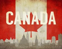 Ottawa, Canada - Flags and Skyline Fine Art Print