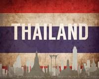 Bangkok, Thailand - Flags and Skyline Fine Art Print