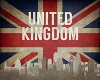London, United Kingdom - Flags and Skyline Fine Art Print