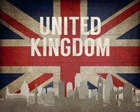 London, United Kingdom - Flags and Skyline Fine Art Print