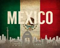 Mexico City, Mexico - Flags and Skyline Fine Art Print