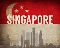 Singapore - Flags and Skyline Fine Art Print