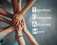 Together Everyone Achieves More - Stacking Hands Framed Print