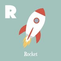 Transportation Alphabet - R is for Rocket Fine Art Print