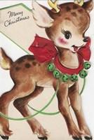 Vintage Xmas Deer Fine Art Print