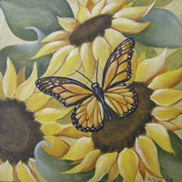 Large Butterfly and Sunflower Fine Art Print