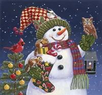 Snowman with Lantern Fine Art Print