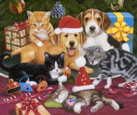 Christmas Meeting - Kittens and Puppies Fine Art Print