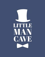 Little Man Cave Top Hat and Bow Tie - Blue Fine Art Print