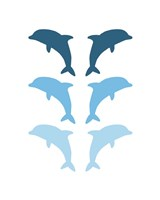 Leaping Dolphins - Blue Fine Art Print