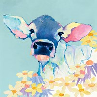 Bessie with Flowers on Teal Fine Art Print