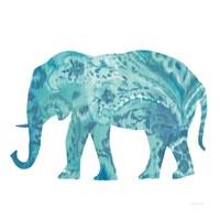 Boho Teal Elephant II Fine Art Print