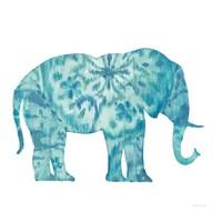 Boho Teal Elephant I Fine Art Print