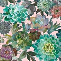 Floral Succulents v2 Crop on Pink Fine Art Print