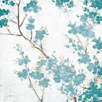 Teal Cherry Blossoms II on Cream Aged no Bird Fine Art Print