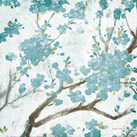 Teal Cherry Blossoms I on Cream Aged no Bird Fine Art Print