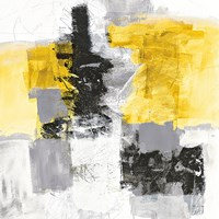 Action II Yellow and Black Sq Fine Art Print