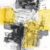 Action I Yellow and Black Sq Fine Art Print