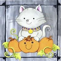 Pumpkins and Kitty 1 Fine Art Print