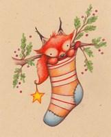 Merry Christmas Little Fox Fine Art Print