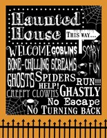 Haunted House Welcome Flag Outlines Fine Art Print