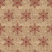Burlap Red Snowflakes Fine Art Print