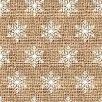 Burlap White Snowflakes Fine Art Print