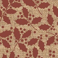 Red Holly Branches Burlap Fine Art Print