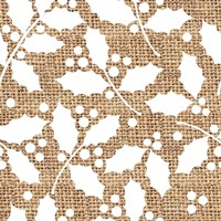 White Holly Branches Burlap Fine Art Print