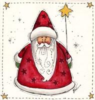 Santa Holding A Star Balloon Fine Art Print