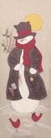 Snowman and Cardinals Fine Art Print