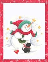 Snowman and Dog Fine Art Print
