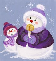 Snowmen In Purple With Candle Fine Art Print