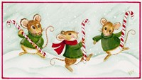 3 Mice With Candy Canes Fine Art Print