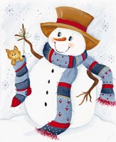 Snowman With Cat In Stocking Fine Art Print