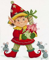 Elf With 3 Mice Fine Art Print