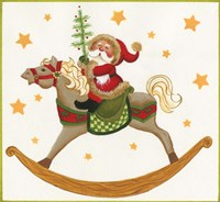 Santa On Rocking Horse Fine Art Print