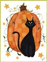 Checked Pumpkin & Cat Fine Art Print