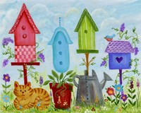 Bird Houses In Garden Fine Art Print