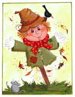 Scarecrow With Crow & Mouse Fine Art Print