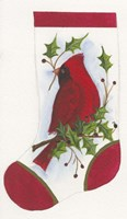 Cardinal With Holly Stocking Fine Art Print